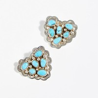 Turquoise Cluster Heart Studs