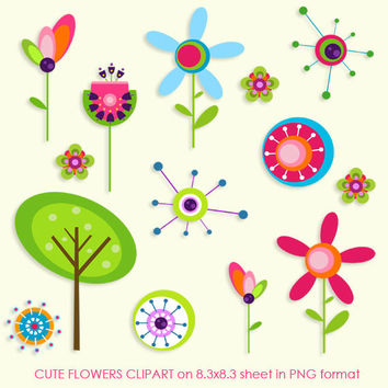 Cute Flowers Clipart - PNG Instant Download - Commercial Use - 8.3x8.3 Sheet - Scrapbook Kit - Embellishments - 300 dpi