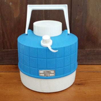 Vintage Blue Thermos Drink Cooler Water Jug Water Cooler