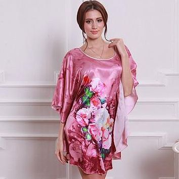 Women Oversized Soft Sleepwear Robes  Bat Shirt Sleep Dress Nightdress Nightwear Nightgown