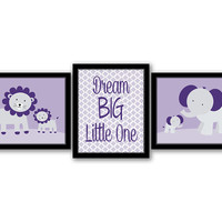 Dream Big Little One, Set of 3, Safari Animals, Safari Nursery, Girls Room, Nursery Decor, Kids Wall Art, Purple Art, INSTANT DOWNLOAD