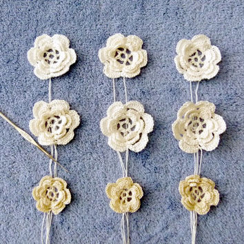 Flower & Star Appliques / Embellishments  / Roses / Made to Order / Hand Crochet - MANY Colors and Patterns - You Choose