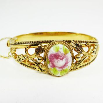 Hinged Rose Bracelet Pink Rose Flower with Green Leaves Oval Porceleain Glass Cabochon Repousse Leaves Vintage 1960s Mid Century Jewelry