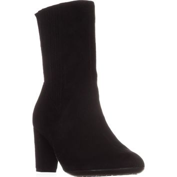 Aerosoles Fifth Ave Mid Calf Boots, Black Suede, 6 US