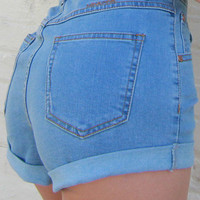 MINKPINK Showdown Rolled Cuff High Waisted Denim Shorts in Light Blue