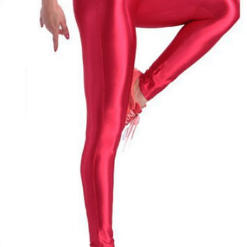BadAssLeggings Women's Shiny Disco Pants Large Red