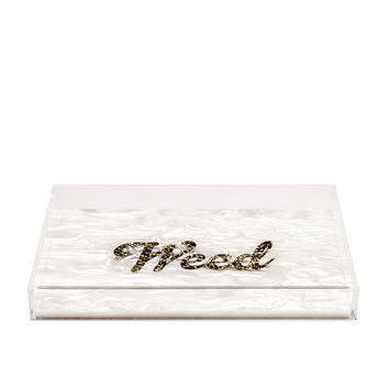 Edie Parker Weed Vanity Tray in White & Gold Confetti | FWRD