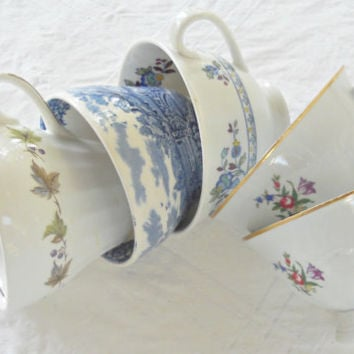Vintage Mismatched Tea Party Tea Cups, Set of 5, Downton Abbey, Craft Projects, Wedding, Bridesmaid Gifts