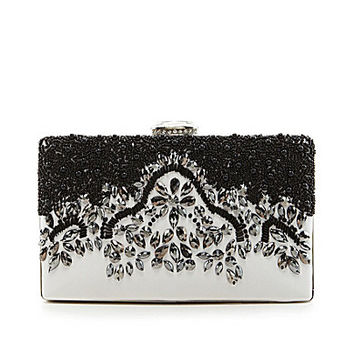Kate Landry Pattern Bead Stone Frame Clutch - Black/White