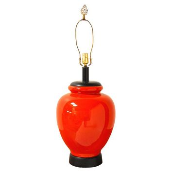 Pre-owned Large Hermes Style Ceramic Vase Table Lamp