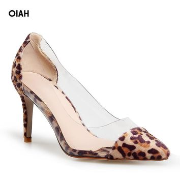 Clear Plastic Transparent PVC Pump Women High Heels  Club Party Pump Shoes Animal Print Foot Wear Designer Shoes Fashion