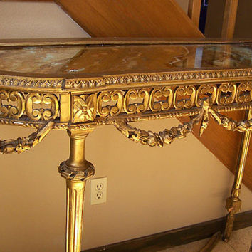 Antique gilt table Italian hand carved tall console gold leaf works with Hollywood Regency