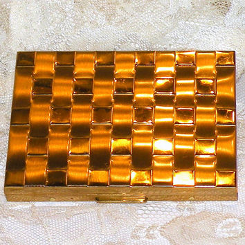 Vintage Cigarette Case Metal Checkered Case Cigarette Compact Pocket Cigarette Case