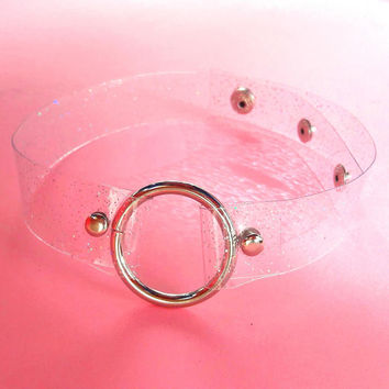 Clear o ring choker with silver holographic glitter, vegan choker, transparent 90s  necklece, Perfect for Coachella, Electric Daisy Carnival