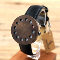 Bobobird C12 12holes Design Wood Watches Mens Watches Top Brand Luxury Watch With Real Leather Straps as Christmas Gifts
