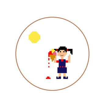 Cross stitch pattern of girl with melting icecream from kids series. To make a summer pixel patern gift  for child. Pattern in ENG ESP DUTCH