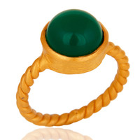 Natural Green Onyx Yellow Gold Plated Sterling Silver Womens Ring Size 7