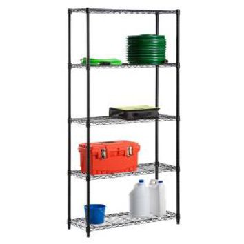 5 Tier Wire Shelving Unit 200lb per Shelf - Black