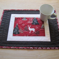 "Christmas Placemats ""Reindeer & Snowflakes"" Set of 2 Quilted Placemats, Quiltsy Handmade, Xmas Table Decor, Holiday Tablemats,"