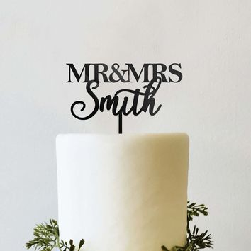 Personalized Mr and Mrs Wedding Cake Topper Traditional Block Font and Script Cursive