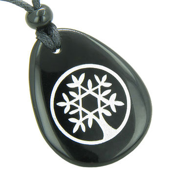 Tree of Life Circle King of Solomon Star Spiritual Amulet Black Agate Pendant Necklace