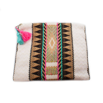 Judith March Aztec Jacquard Makeup Bag (Black Multi)
