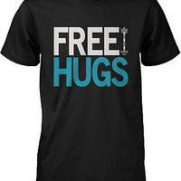 Men's Funny Graphic Tees - Free Hugs Black Cotton T-shirt