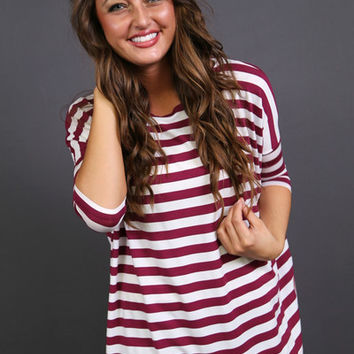 Striped 3/4 Sleeve Piko {Maroon}