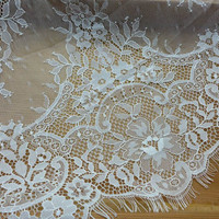 White French Chantilly Lace Trim Graceful Floral Scalloped Wedding Lace Fabric Trim 3 Yards