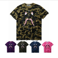 Camouflage Letter Cotton Short Sleeve T-Shirt