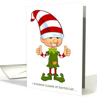 Elf Giving the Thumbs Up for Christmas card
