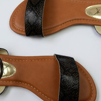Snakeskin Print Sling Sandals - Dark Brown/Black