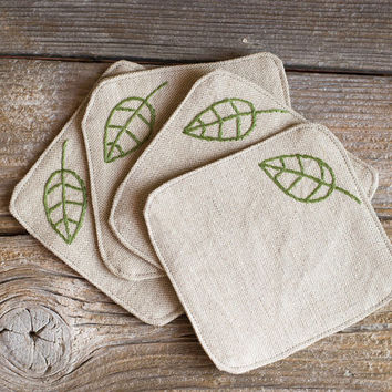 Green Leaves Coasters, a set of 4, Hand embroidered, Natural Linen and Cotton, Nature Inspired Fall Home Decor