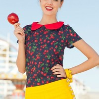 Peter Pan Collar Cherry Sno-Cone Blouse from the Ferris Wheel Collection by Shabby Apple