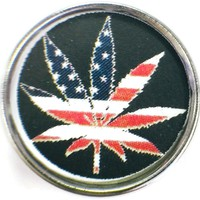 Marijuana Pot Leaf With American Flag 18MM - 20MM Fashion Snap Jewelry Charm New Item