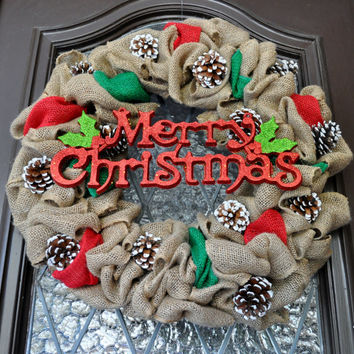 Christmas Wreath- Burlap Wreath, Front Door Wreath, Holiday Wreath, Merry Christmas Sign