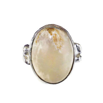 Clark and Coombs, Sterling Ring, Dendritic Moss Agate, Quartz Stone, Silver, Vintage Jewelry