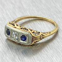 1880s Antique Victorian 14k Solid Yellow Gold Diamond Sapphire Engagement Ring