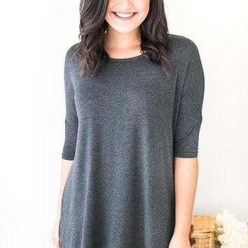 Pleasant Surprise Charcoal Tee