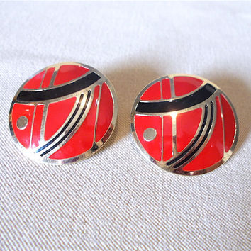 Vintage 80's Red, Black & Gold Disc Post Earrings, New Wave Abstract Fashion Jewelry, Post Modern Style Asian Inspired Simple Classic Gift