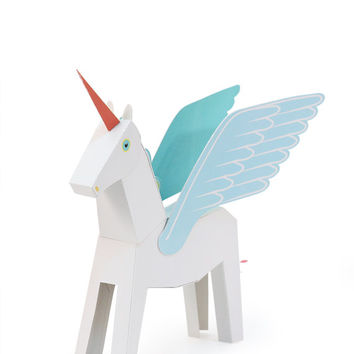 White Pegacorn Paper Toy - DIY Paper Craft Kit - 3D Paper Animal