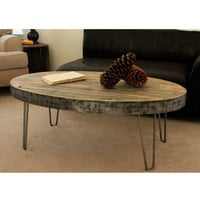 Reclaimed Wood Oval Industrial Coffee Table
