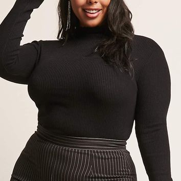 Plus Size Ribbed Lettuce-Edge Top