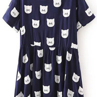 Navy Blue Scoop Neckline Animal Print Pleated Dress
