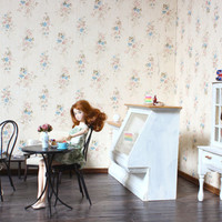 1/6 scale Miniature Table and Bentwood Chair French bistro set for dolls (Blythe, Pullip, Obitsu, Barbie, Bratz,  Momoko)