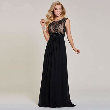 Beaded long evening dresses black scoop cap sleeves floor length a line gown women lace prom formal evening dress
