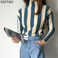 EXOTAO Striped Women Sweater Turtleneck Slim Knitted Warming Jersey Mujer Invierno 2017 Fall Winter Long Sleeves Female Pullover
