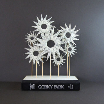 Paper Star Garden - Origami Book Sculpture - Modern Home Decor - Recycled Book Paper Art - Black & White Paper Sculpture - Origami Flowers
