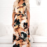 Just Be You Watercolor Maxi (Green/Orange)