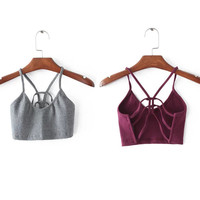 crop tops women sexy brandy melville tops woman Halter strapless  cropped tank top strappy bra blusa